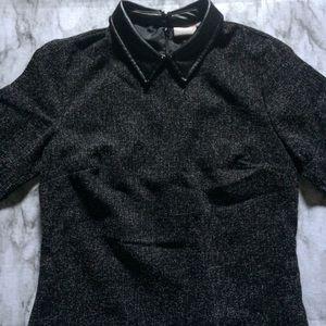 Eshakti Brand Faux Leather Collar Ponte Knit Dress